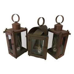 Trio of Brass and Copper Exterior Lantern Sconces