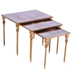Trio of Brass and Mirror Glass Nesting Tables Attributed to Maison Jansen