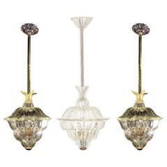 """Trio of Chandeliers """"The King"""", Gold Inclusion by Barovier & Toso, Murano, 1940s"""