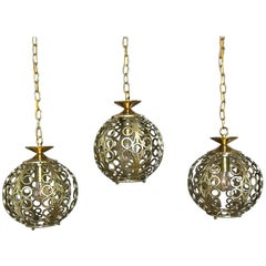 Trio of Circle Motif Brass Pendant Lights