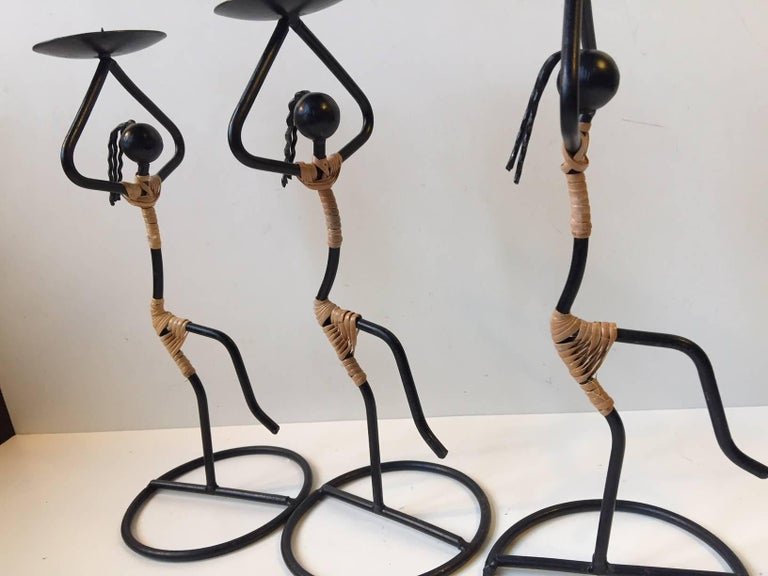 Blackened Trio of Dancing Danish Modernist String Ball Candleholders by Laurids Lonborg