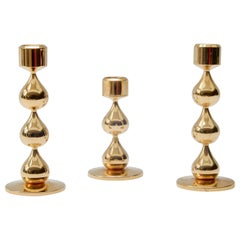 Trio of Danish 24-Carat Gold-Plated Candlesticks by Hugo Asmussen, 1960s