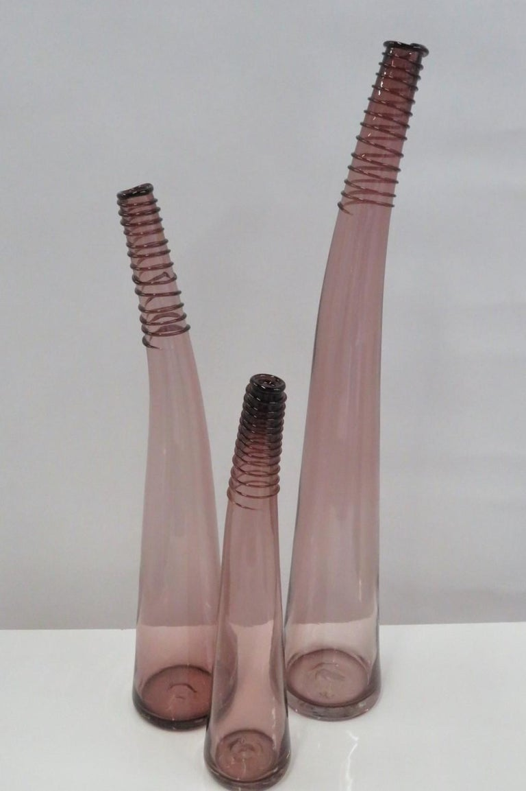 Modern Trio of Don Shepherd Hand Crafted Glass Bent Spiral Neck Vases for Blenko 1988 For Sale