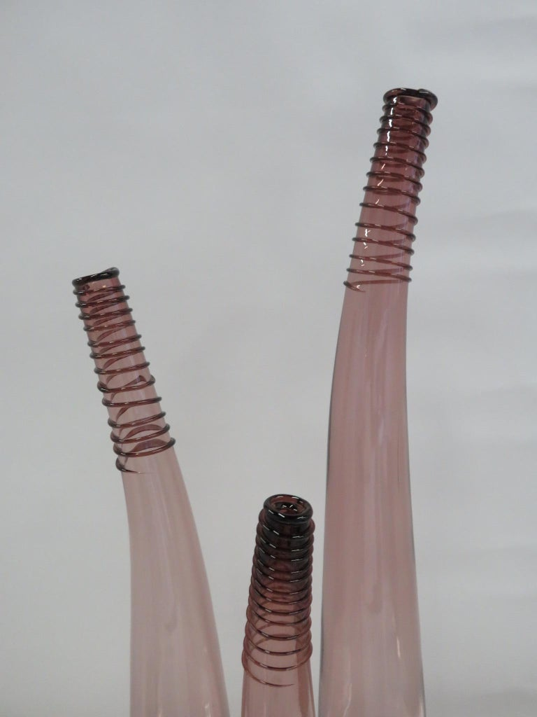 Trio of Don Shepherd Hand Crafted Glass Bent Spiral Neck Vases for Blenko 1988 In Good Condition For Sale In Miami, FL