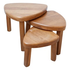 Trio of French Nesting Tables in the Manner of Pierre Chapo '3'