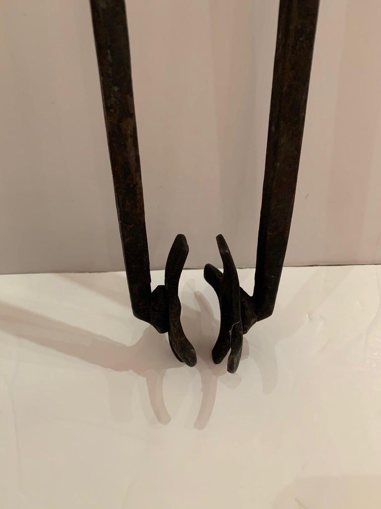 Trio of Hand Forged Iron and Brass Antique Fireplace Tools For Sale 7