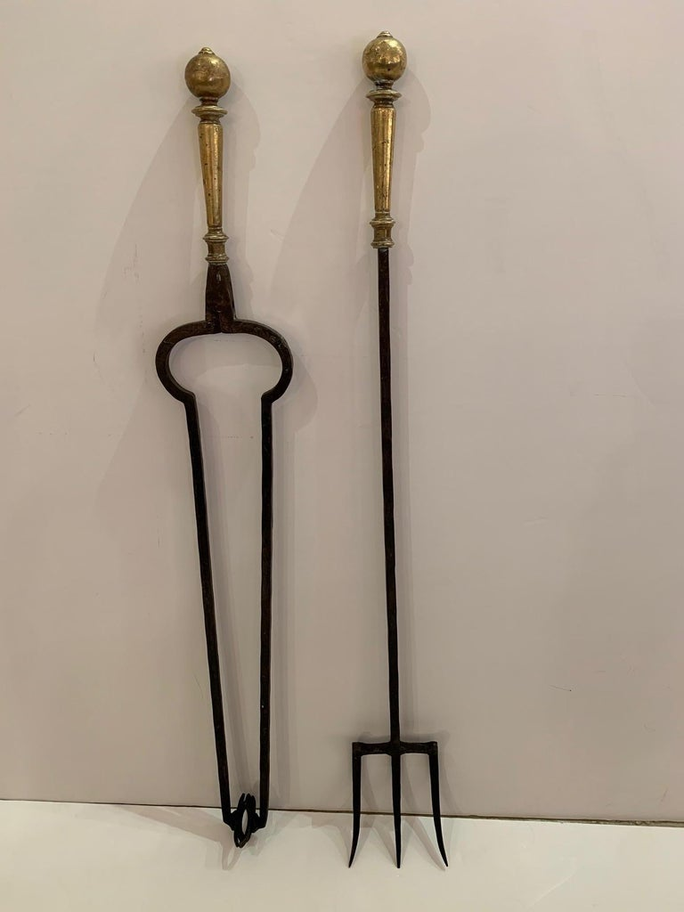 American Trio of Hand Forged Iron and Brass Antique Fireplace Tools For Sale