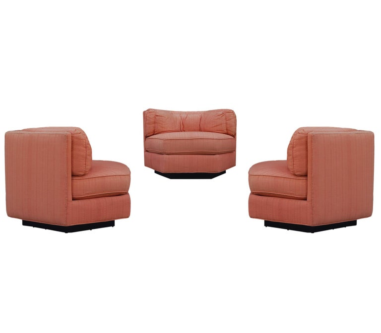 Trio of Hexagonal Mid-Century Modern Club Chairs by Bernhardt, Plinth Bases For Sale 5