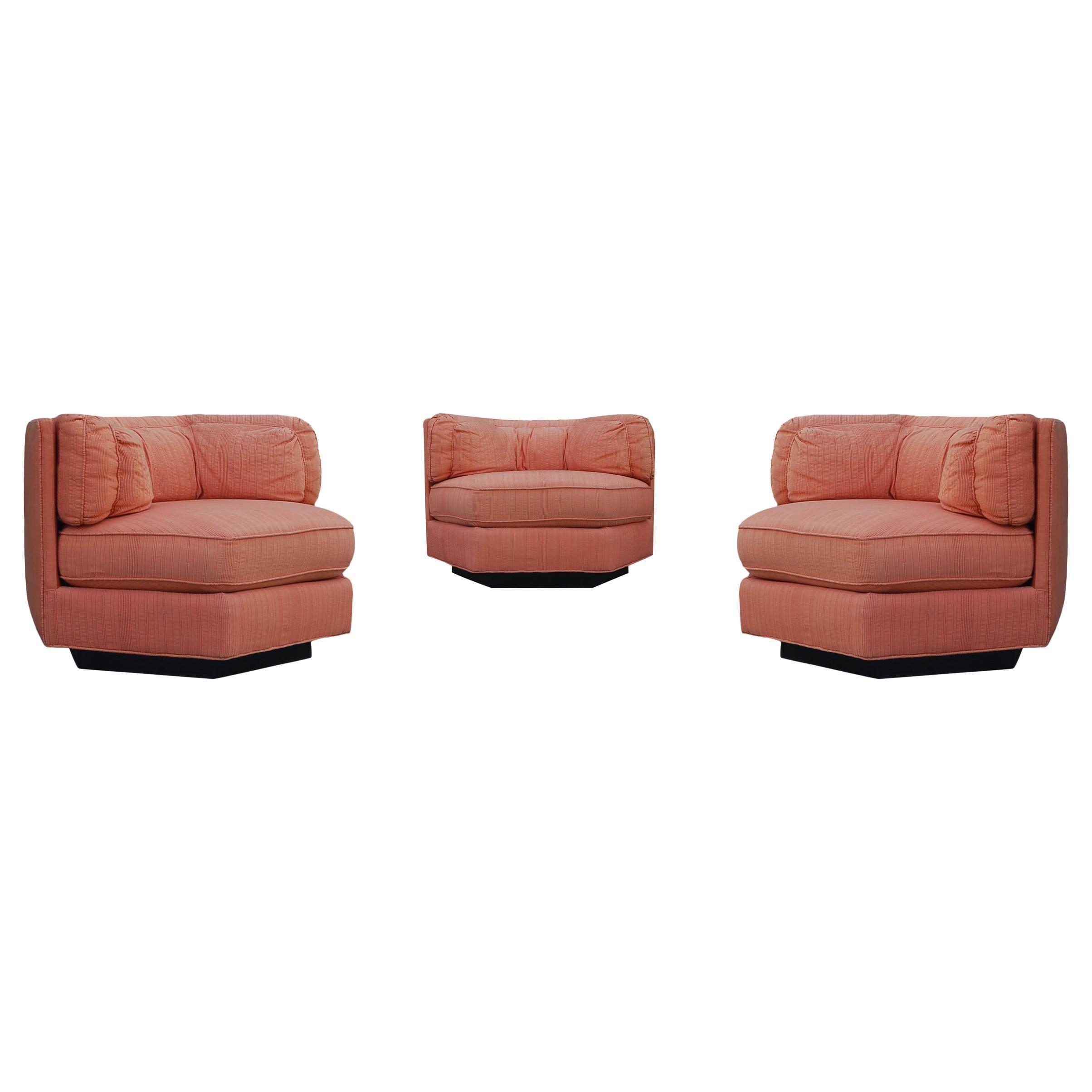 Trio of Hexagonal Mid-Century Modern Club Chairs by Bernhardt, Plinth Bases