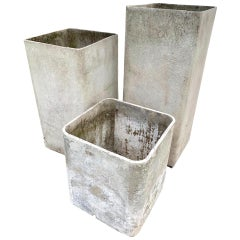 Trio of Hollow Rectangular Planters by Willy Guhl