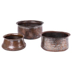 Trio of Indian Hand Wrought  Copper Vessels