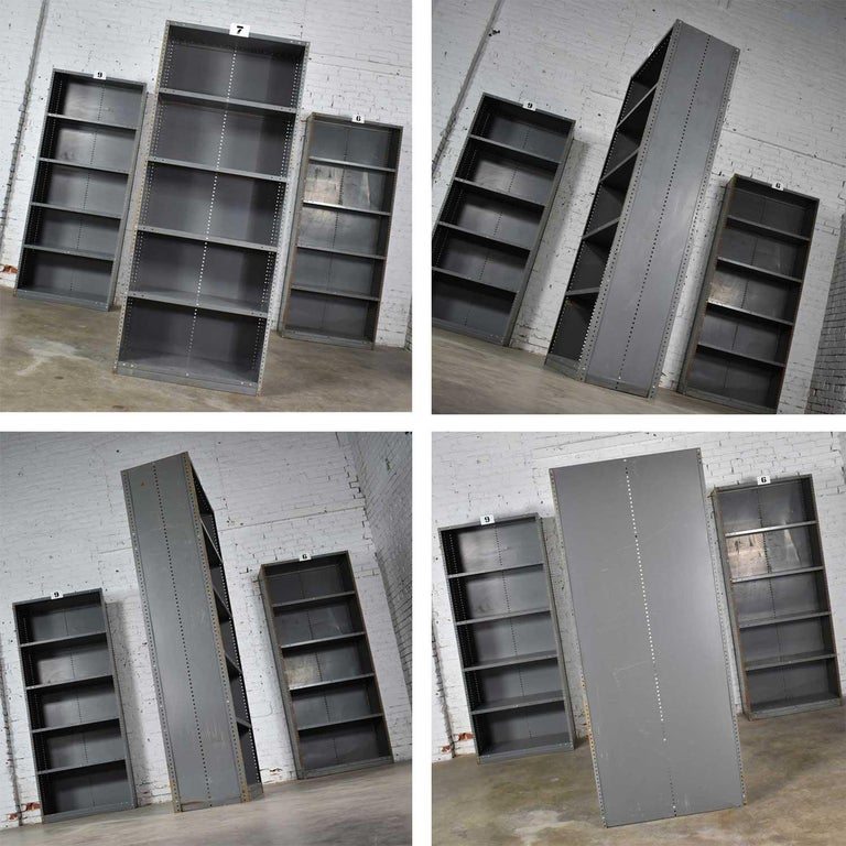 Trio of Industrial Steel Bookcase Shelving Painted Gray, Green Great Patina Vin For Sale 8