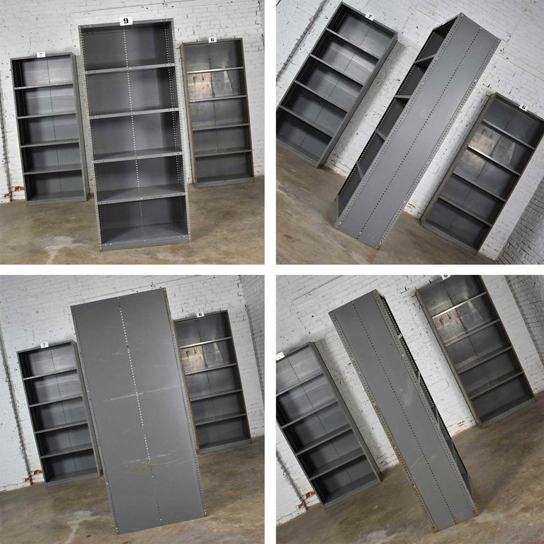 Trio of Industrial Steel Bookcase Shelving Painted Gray, Green Great Patina Vin For Sale 9
