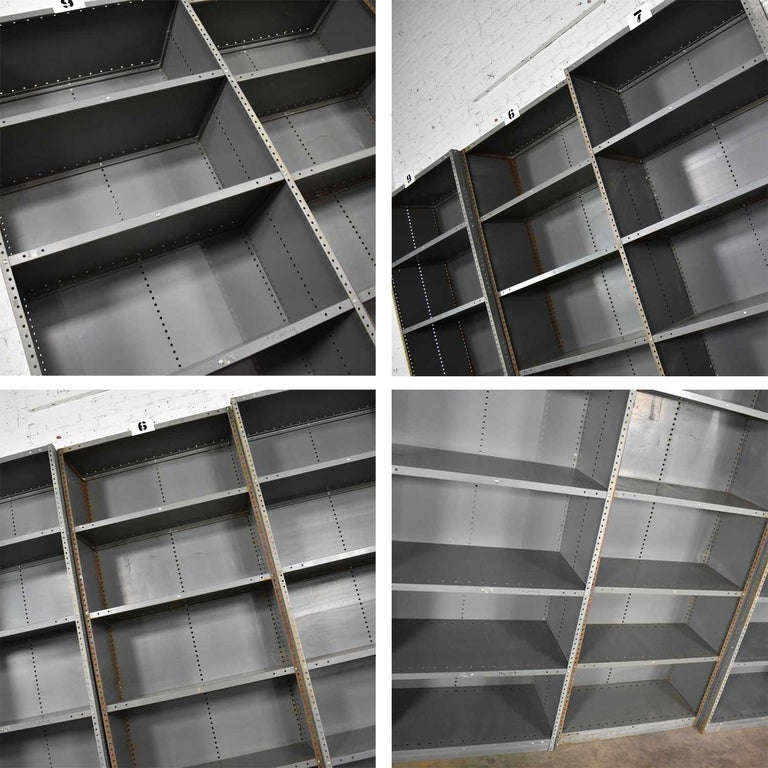 Trio of Industrial Steel Bookcase Shelving Painted Gray, Green Great Patina Vin For Sale 10