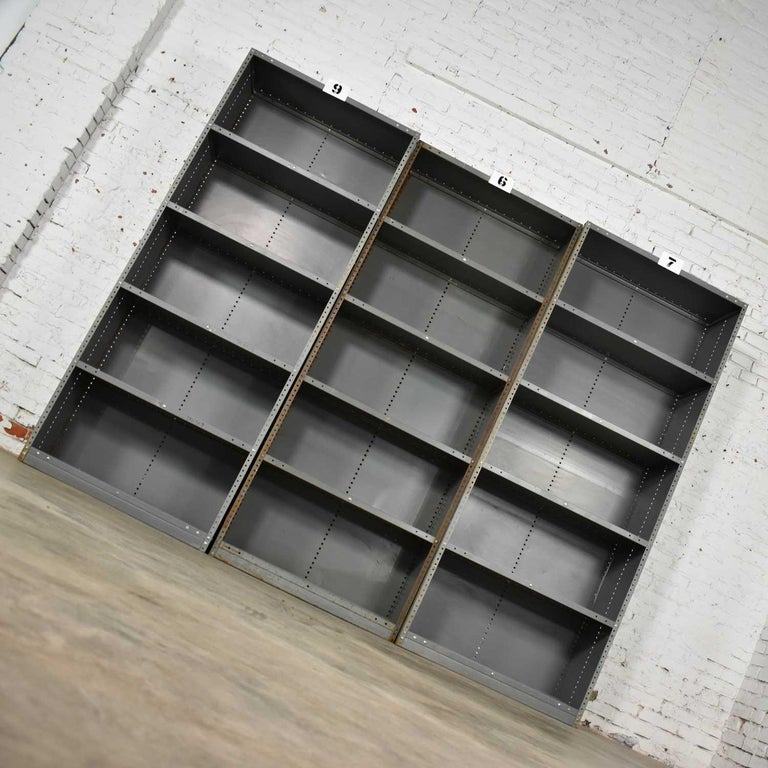 Trio of Industrial Steel Bookcase Shelving Painted Gray, Green Great Patina Vin In Fair Condition For Sale In Topeka, KS