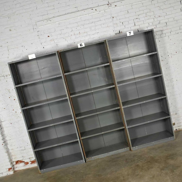 20th Century Trio of Industrial Steel Bookcase Shelving Painted Gray, Green Great Patina Vin For Sale