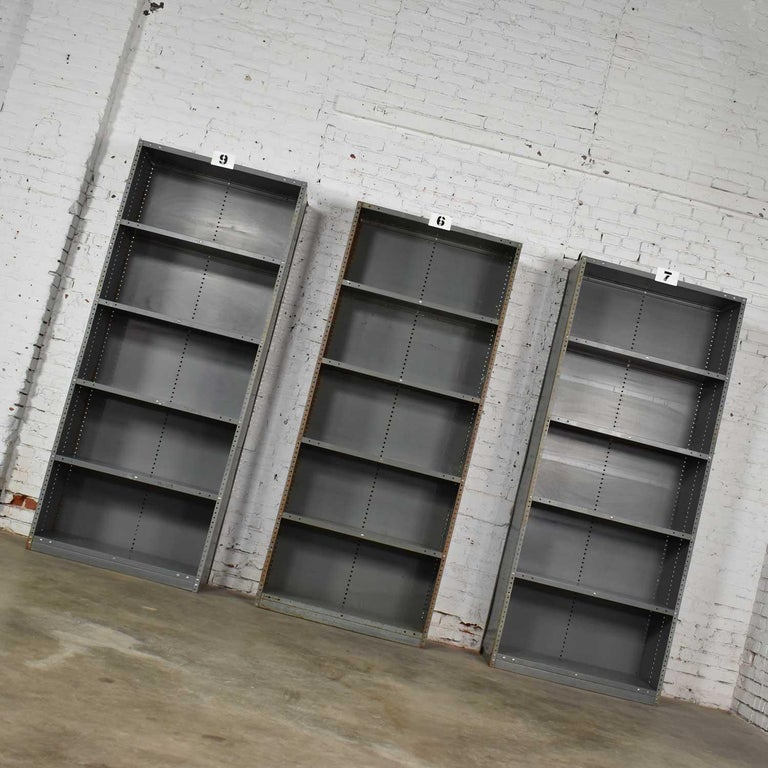 Trio of Industrial Steel Bookcase Shelving Painted Gray, Green Great Patina Vin For Sale 2
