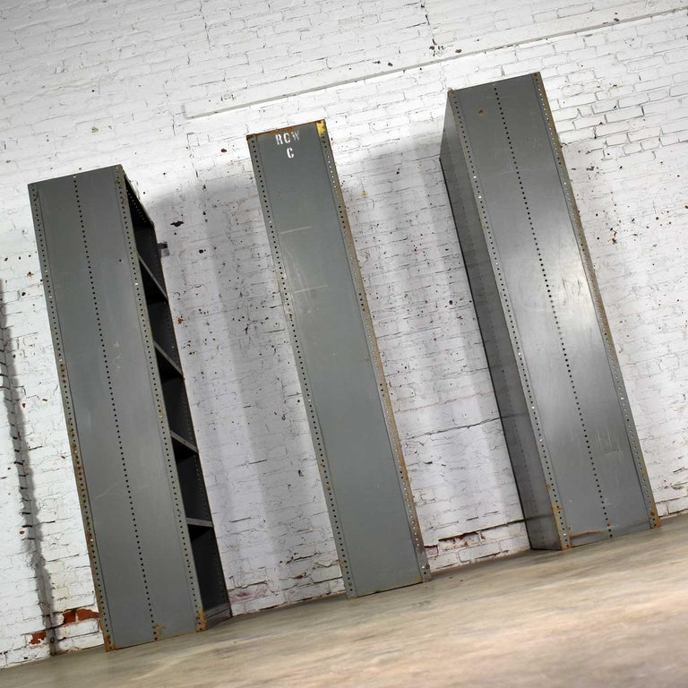 Trio of Industrial Steel Bookcase Shelving Painted Gray, Green Great Patina Vin For Sale 3