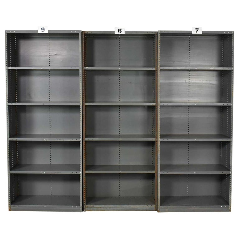 Trio of Industrial Steel Bookcase Shelving Painted Gray, Green Great Patina Vin For Sale