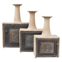 Trio of Italian Stoneware Vases with Abstract Motif by Bruno Gambone, c. 1990s