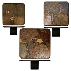 Trio of Kingma & Kneip Bronze and Slate Tables, Netherlands, 1960s