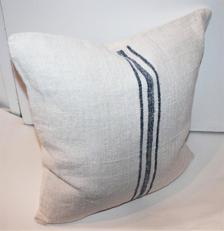Trio of Linen Pillows, Vintage For Sale 3
