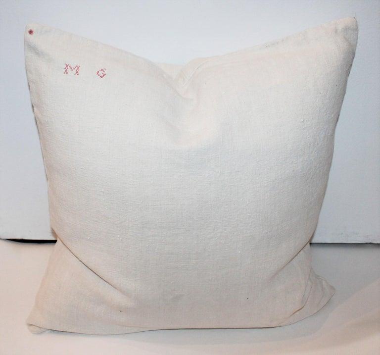Trio of Linen Pillows, Vintage For Sale 6