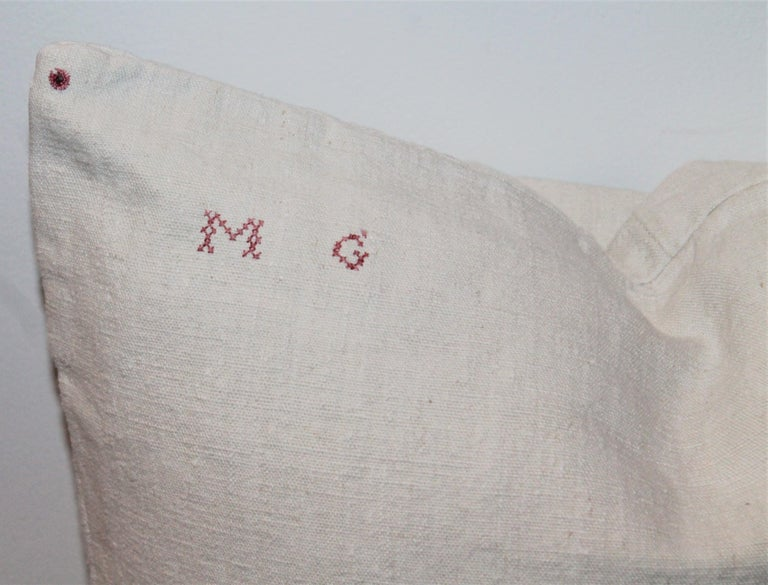 Trio of Linen Pillows, Vintage For Sale 7