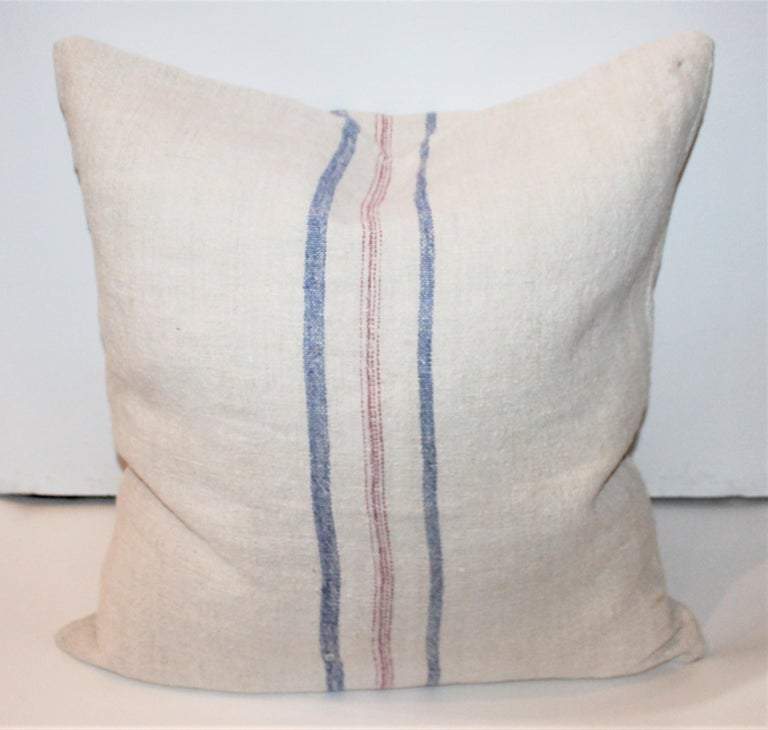 Country Trio of Linen Pillows, Vintage For Sale