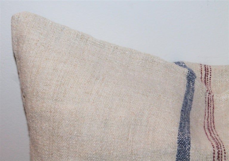 Hand-Crafted Trio of Linen Pillows, Vintage For Sale