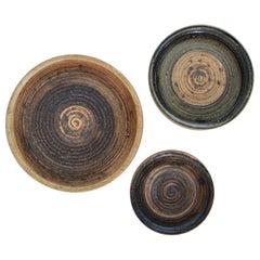 Trio of Low Stoneware Bowls by Tue Poulsen