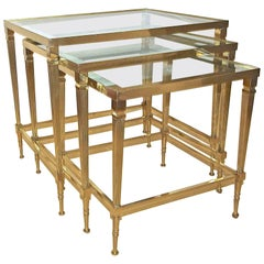 Trio of Maison Jansen French Brass Nesting Tables