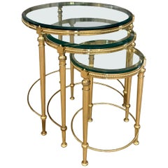 Trio of Maison Jansen French Round Brass Nesting Tables