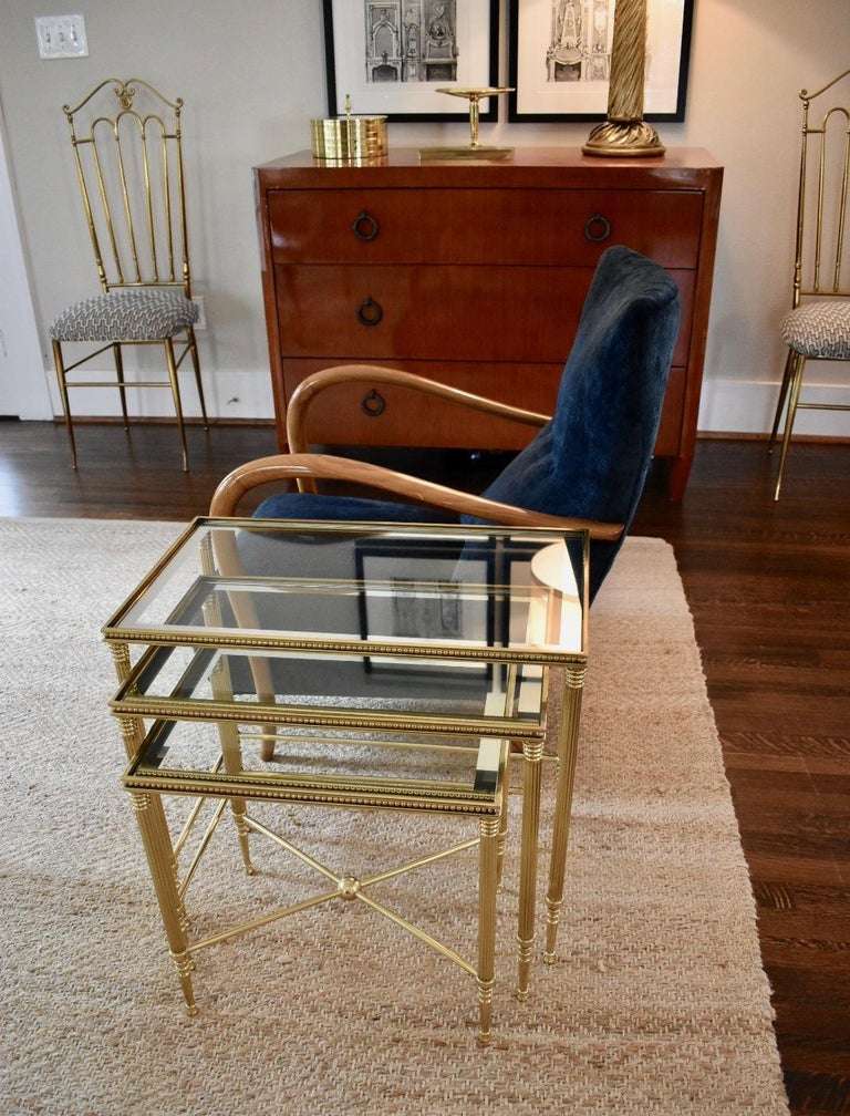 Trio of Maison Jansen Style French Brass Nesting Tables For Sale 5