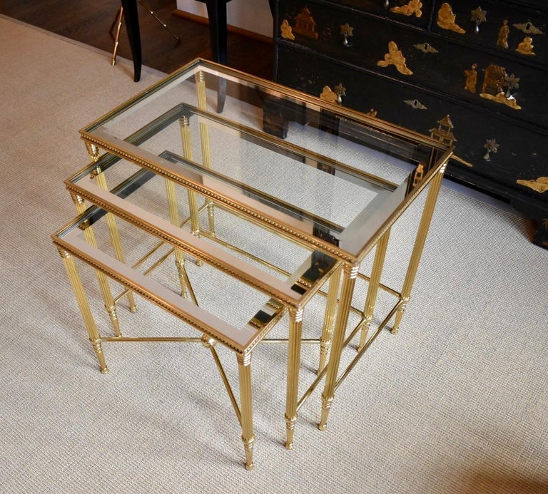 Trio of Maison Jansen Style French Brass Nesting Tables In Good Condition For Sale In Dallas, TX