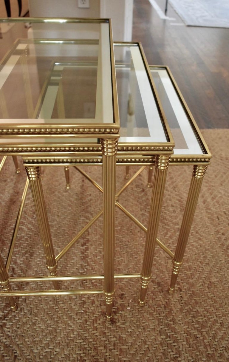 Trio of Maison Jansen Style French Brass Nesting Tables For Sale 1