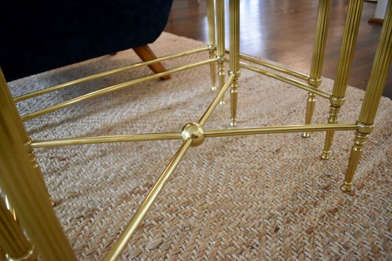 Trio of Maison Jansen Style French Brass Nesting Tables For Sale 2