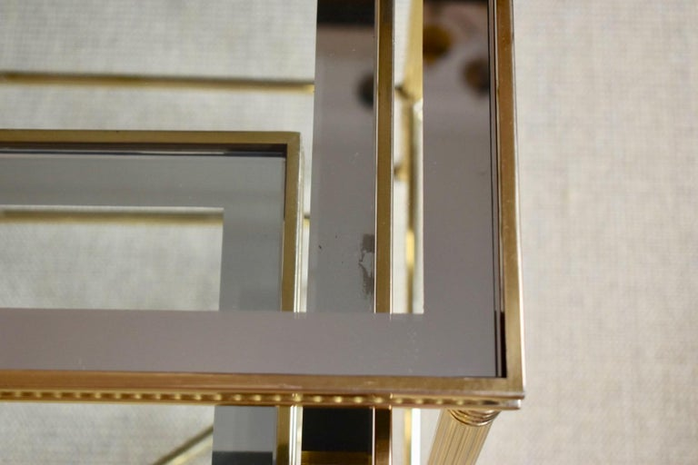 Trio of Maison Jansen Style French Brass Nesting Tables For Sale 4