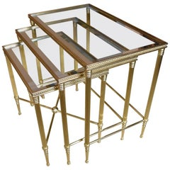 Trio of Maison Jansen Style French Brass Nesting Tables