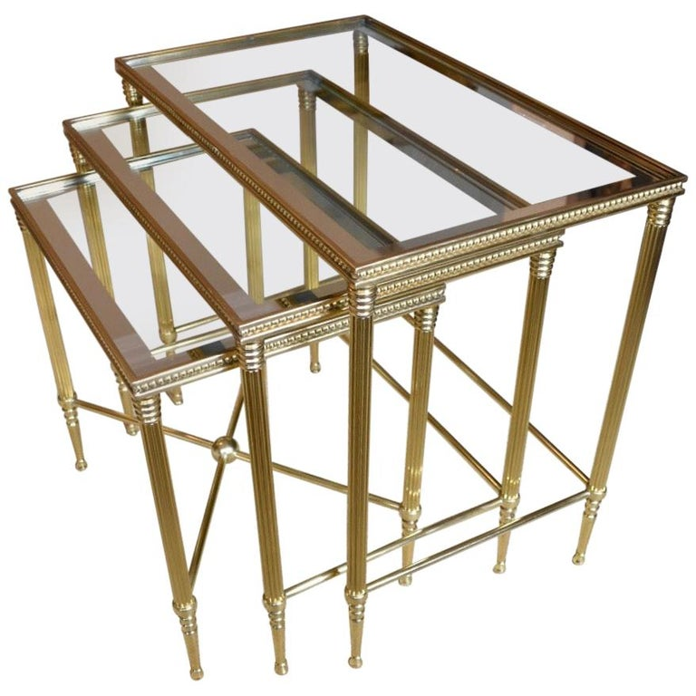 Trio of Maison Jansen Style French Brass Nesting Tables For Sale