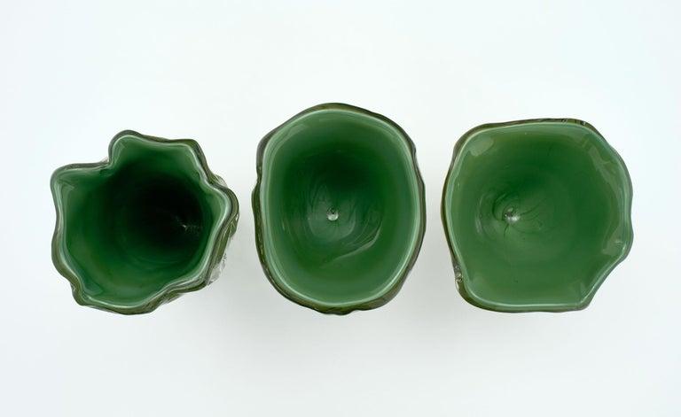 """Organic Modern Trio of """"Martellato"""" Murano Glass Vases For Sale"""