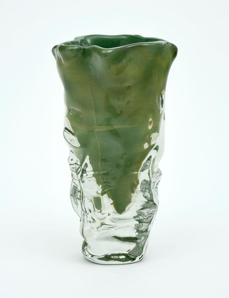"""Italian Trio of """"Martellato"""" Murano Glass Vases For Sale"""