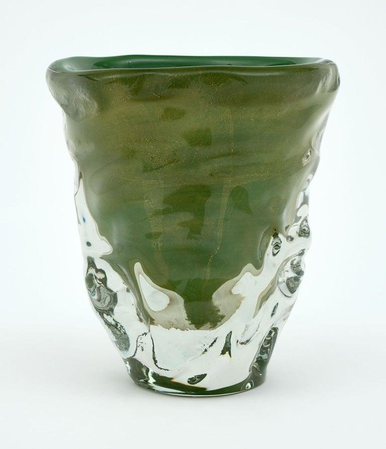 """Contemporary Trio of """"Martellato"""" Murano Glass Vases For Sale"""
