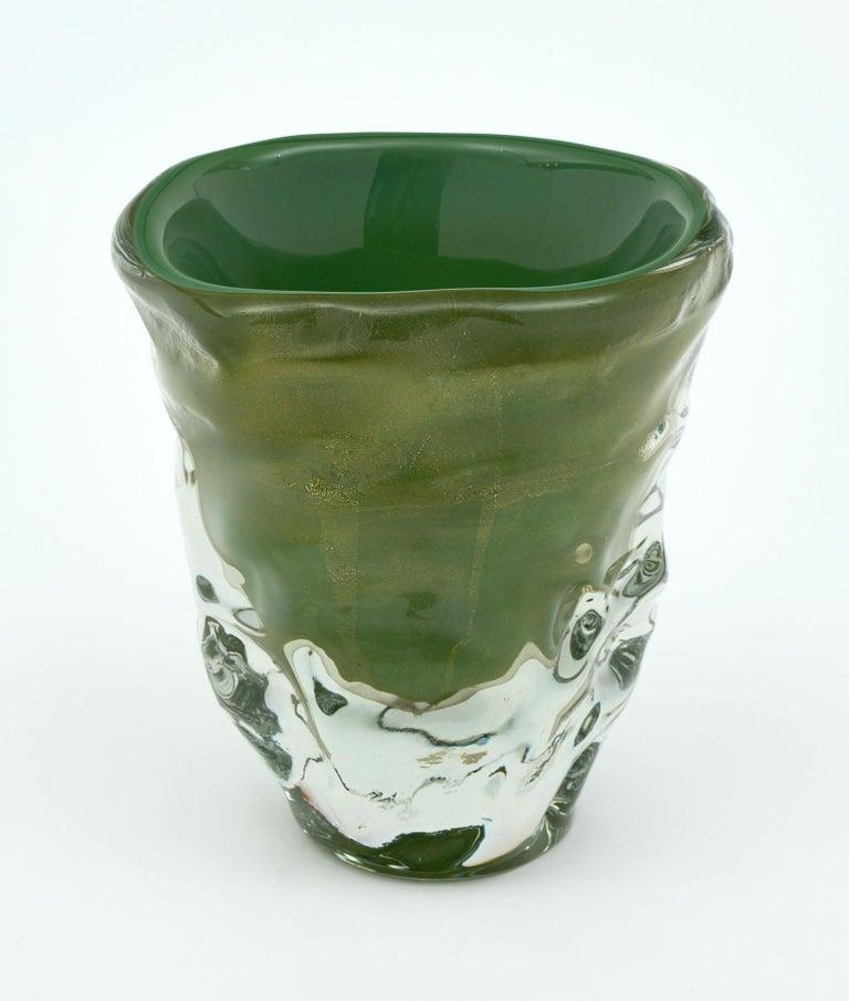 """Gold Trio of """"Martellato"""" Murano Glass Vases For Sale"""