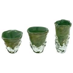 """Trio of """"Martellato"""" Murano Glass Vases"""