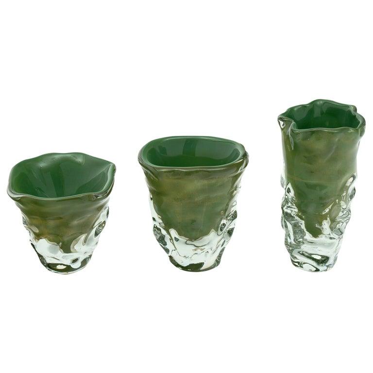 """Trio of """"Martellato"""" Murano Glass Vases For Sale"""