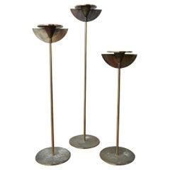 Trio of Mid-Century Brass Candlesticks '3'