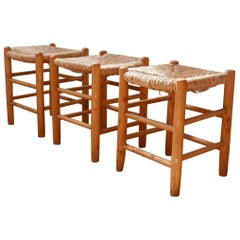 Trio of Midcentury French Rush Stools in the manner of Charlotte Perriand