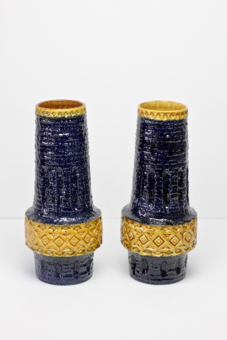 Mid-Century Modern Trio of Mid-Century West German Vases by Bay Keramik & Spara Pottery, circa 1970 For Sale