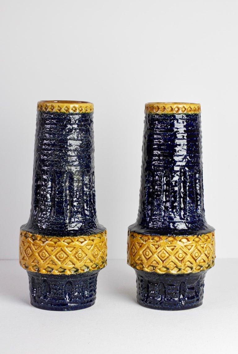 Embossed Trio of Mid-Century West German Vases by Bay Keramik & Spara Pottery, circa 1970 For Sale